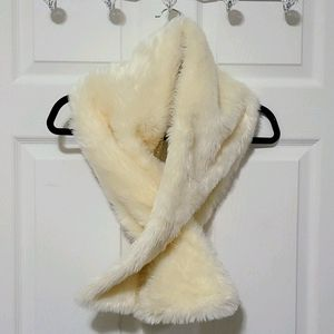 Guess cream faux fur scarf with wool underside